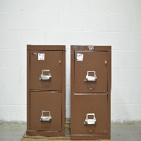Lot of (2) Brown Two Drawer Fire King Filing Cabinets