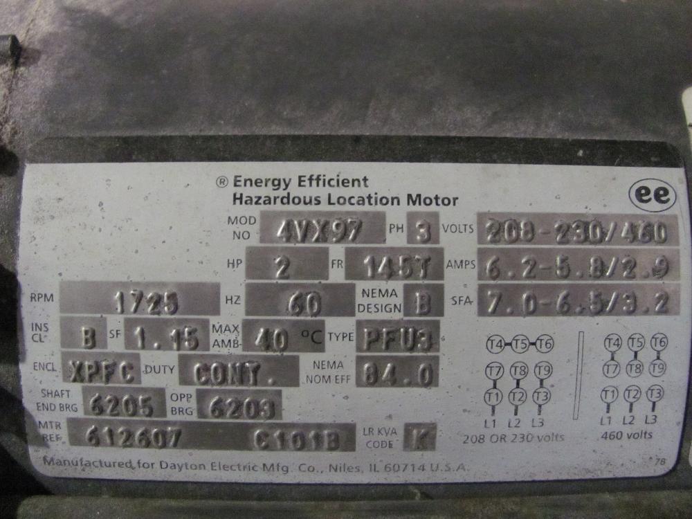 Dayton Electric Mfg Co. 2HP 4VX97 145T Motor