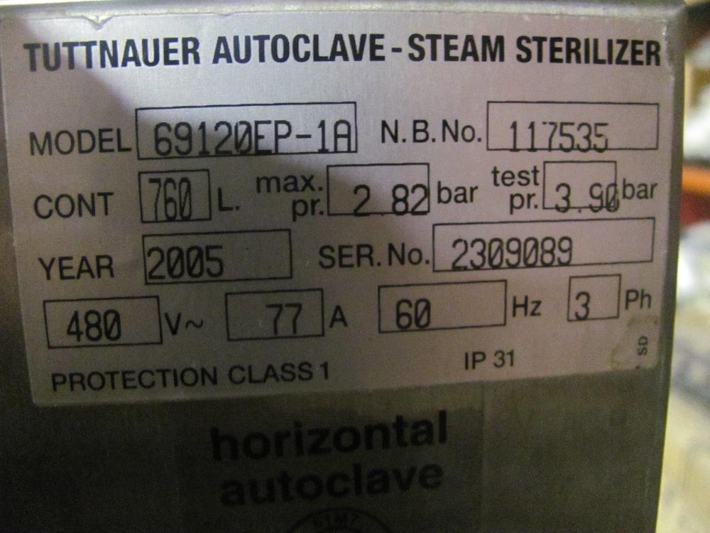 Tuttnauer 69 Series Horizontal Autoclave