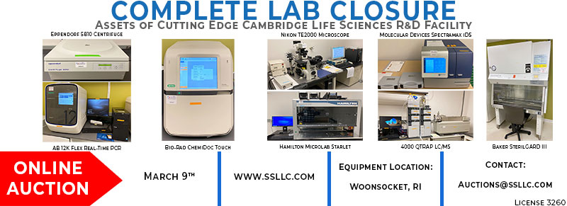 Lab Closure, Assets of Cutting Edge Cambridge Life Sciences R&D Facility