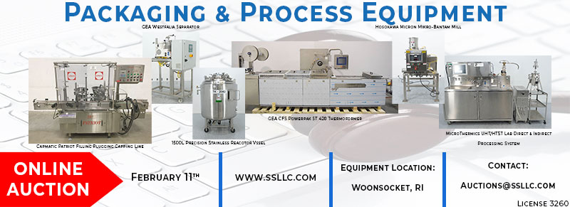 Pharmaceutical Packaging and Processing Equipment Auction