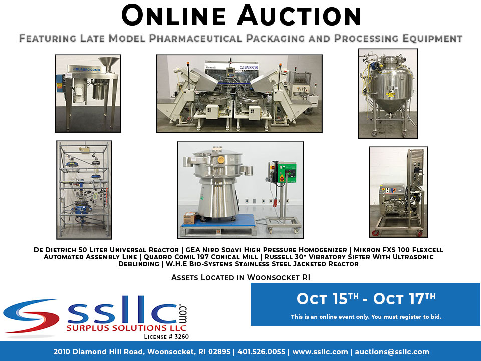 Life Science Packaging and Processing Equipment Auction