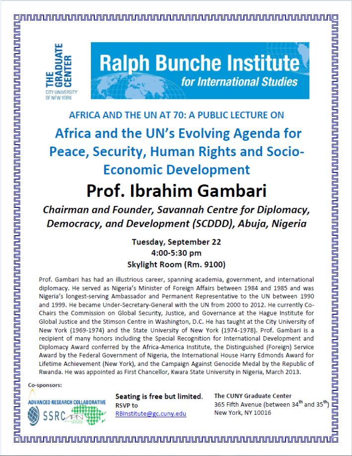 Public Lecture by Professor Ibrahim Gambari | Social Science
