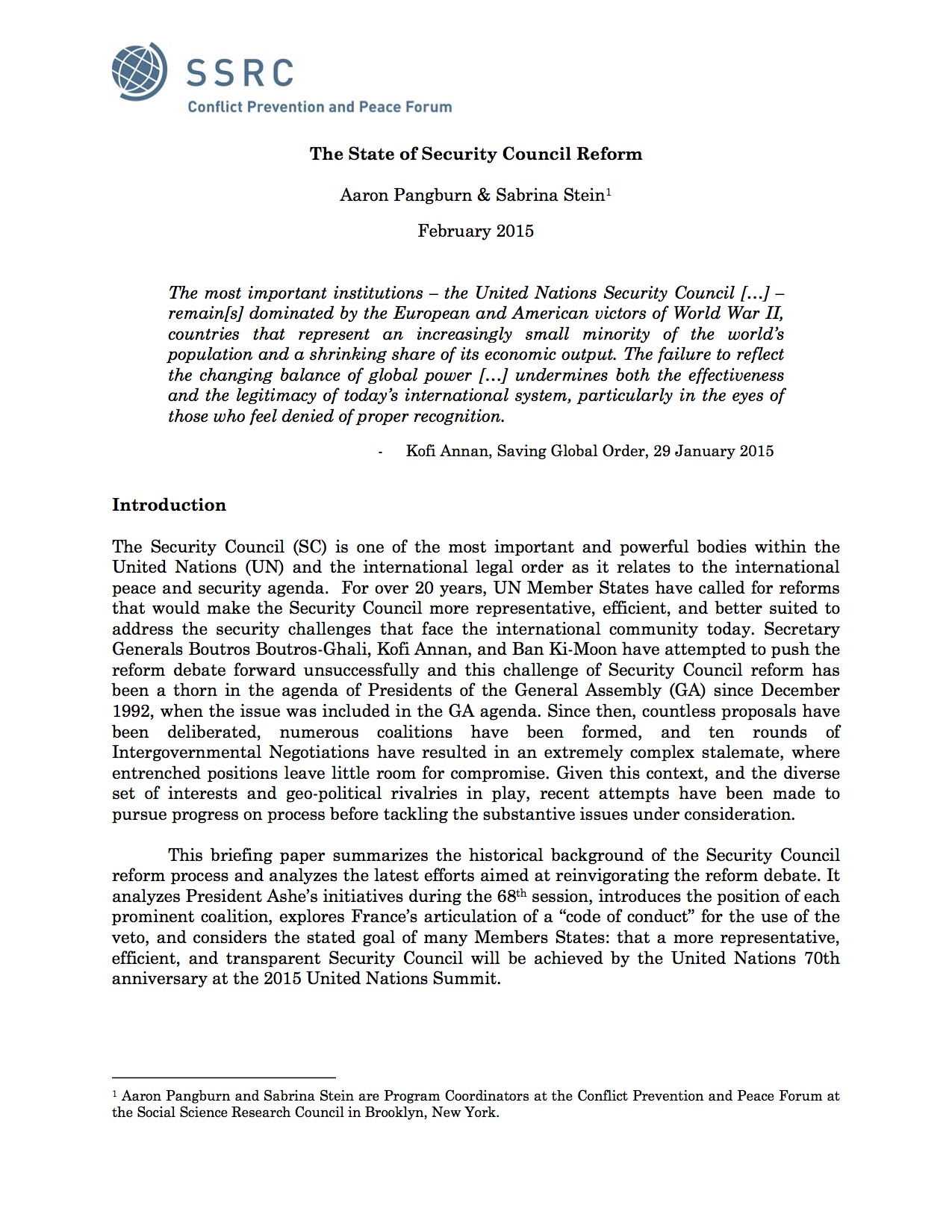 The State Of Security Council Reform Social Science Research