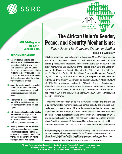 The African Union's Gender, Peace, and Security Mechanisms: Policy Options for Protecting Women in Conflict