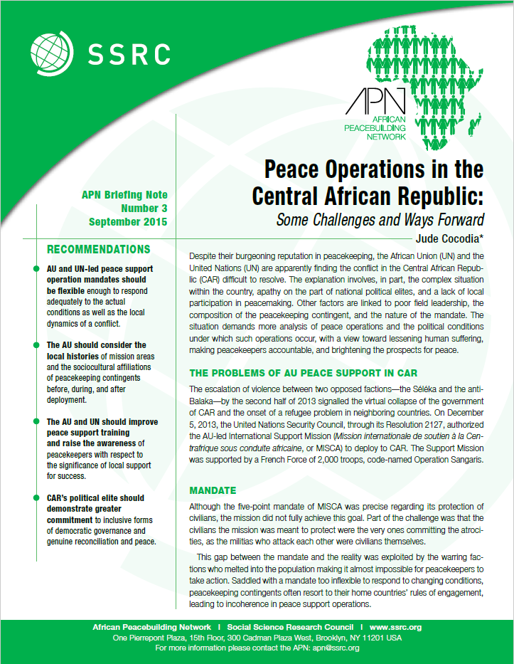 Peace Operations in the Central African Republic: Some Challenges and Ways Forward