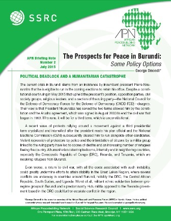 The Prospects for Peace in Burundi: Some Policy Options