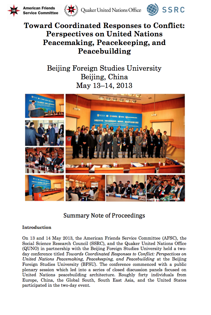 Summary note, Towards Coordinated Responses to Conflict, Beijing, 13-15 May 2013