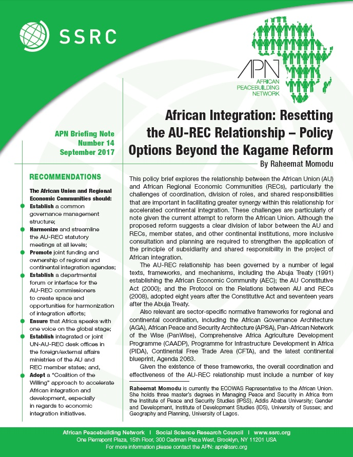 African Integration: Resetting the AU-REC Relationship