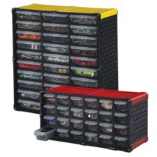 Stack-On Multi-Drawer Storage Cabinet Design is great for quick identification and easier access to contents.
