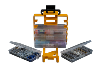 Stack-On Multi-compartment storage boxes.