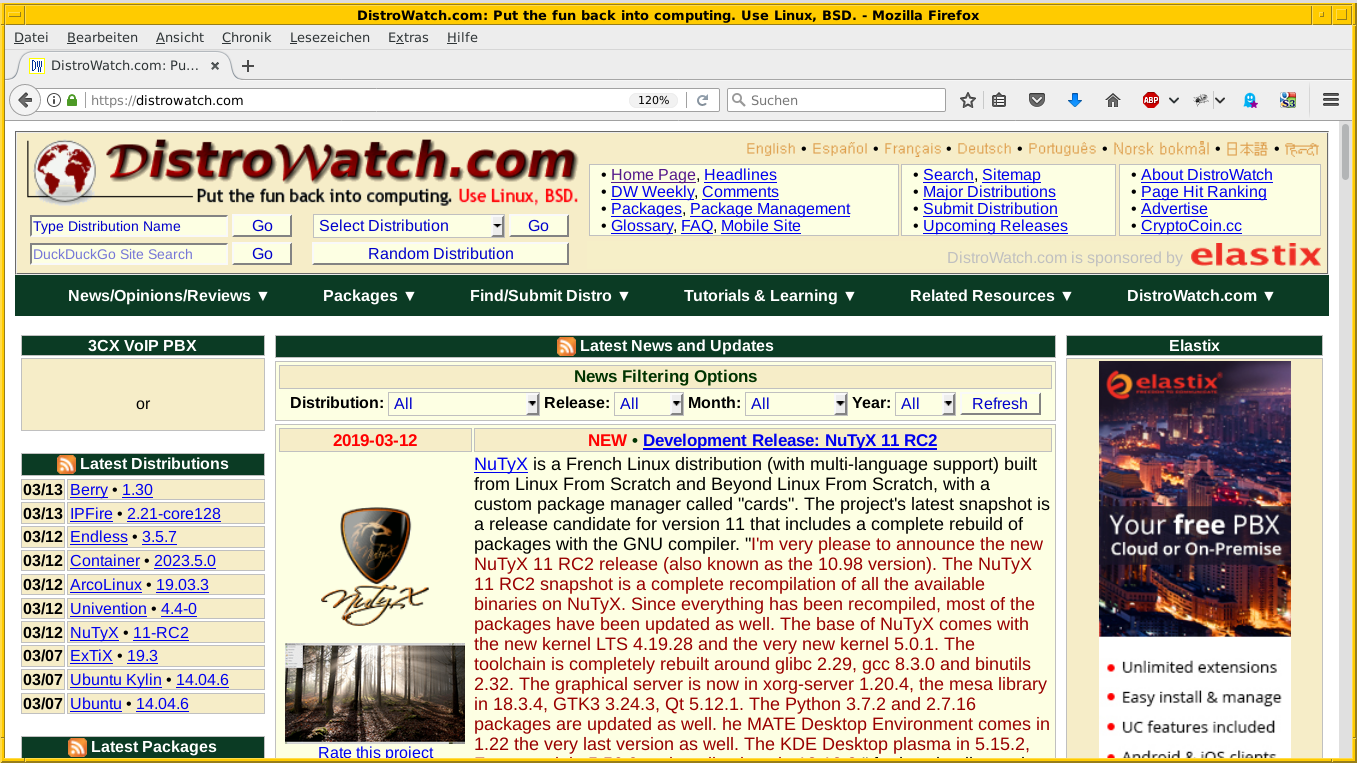 Distrowatch news of the day