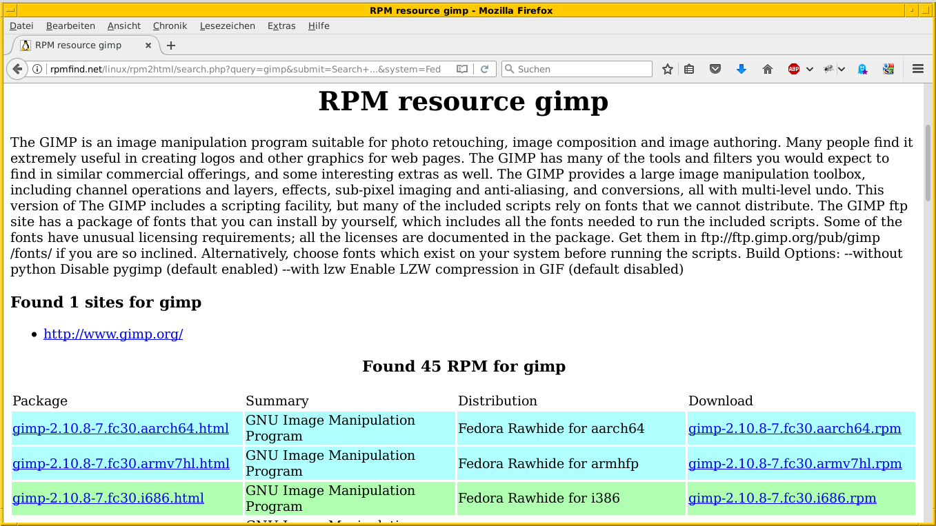 Rpmfind's search results for Gimp on Fedora