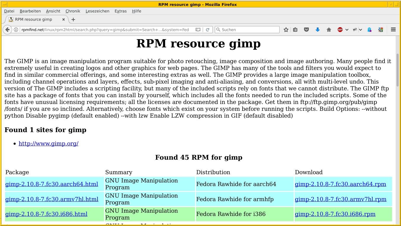 Los resultados de búsqueda de Rpmfind para Gimp en Fedora