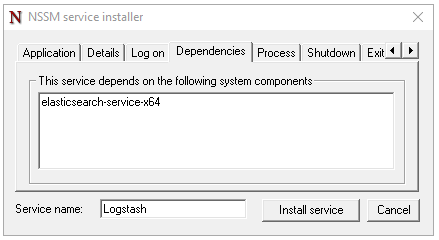 nssm service installer Logstash dependency