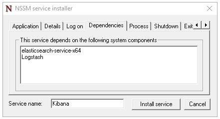 nssm service installer Kibana dependency