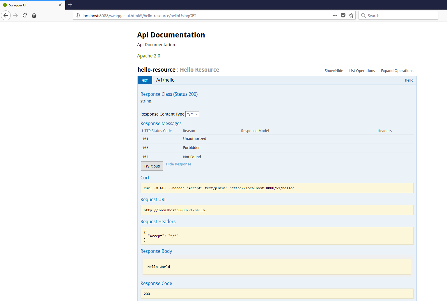 Java REST API Documentation with Swagger2