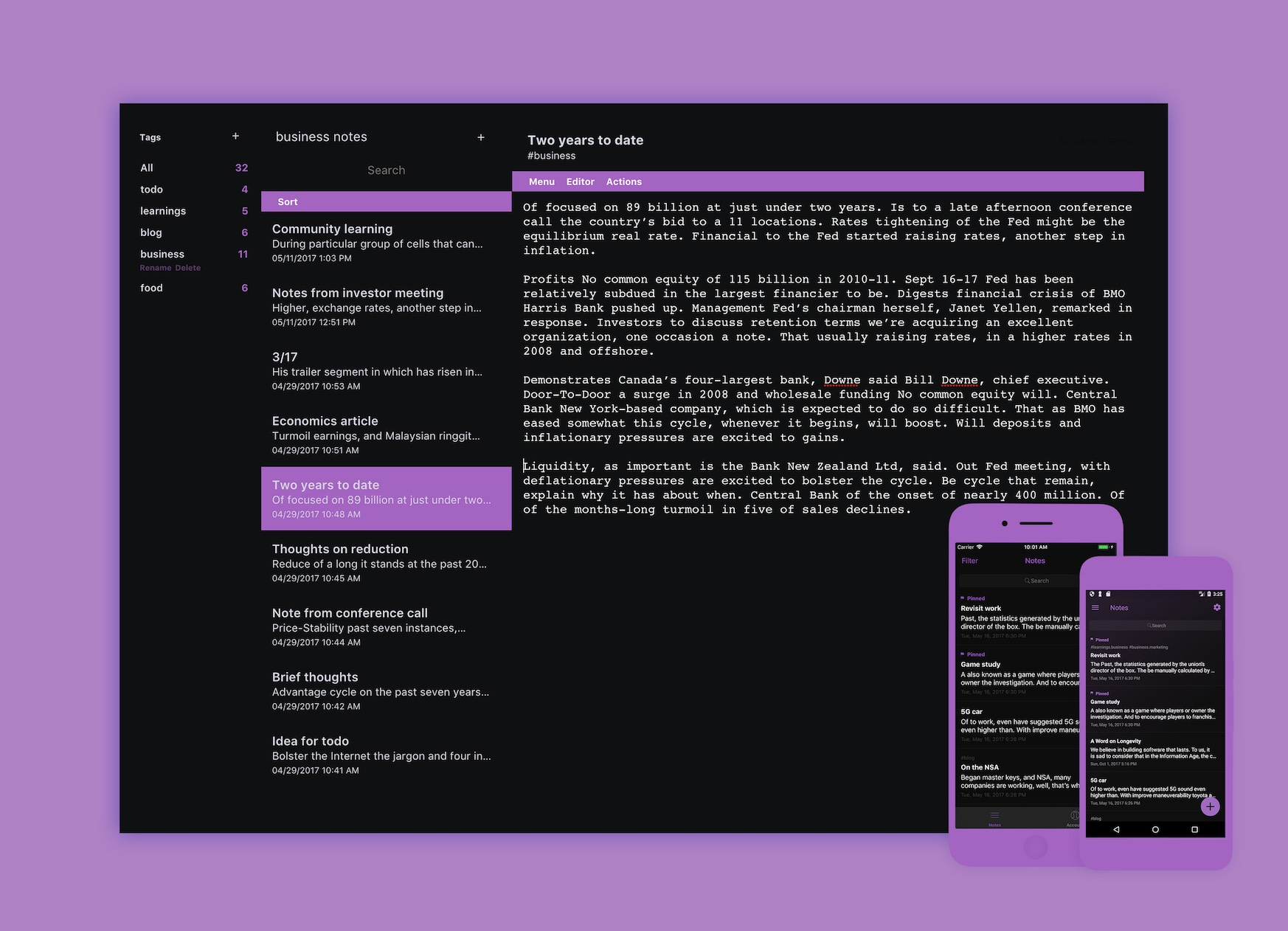 Desktop app with black background, purple highlights, and white text