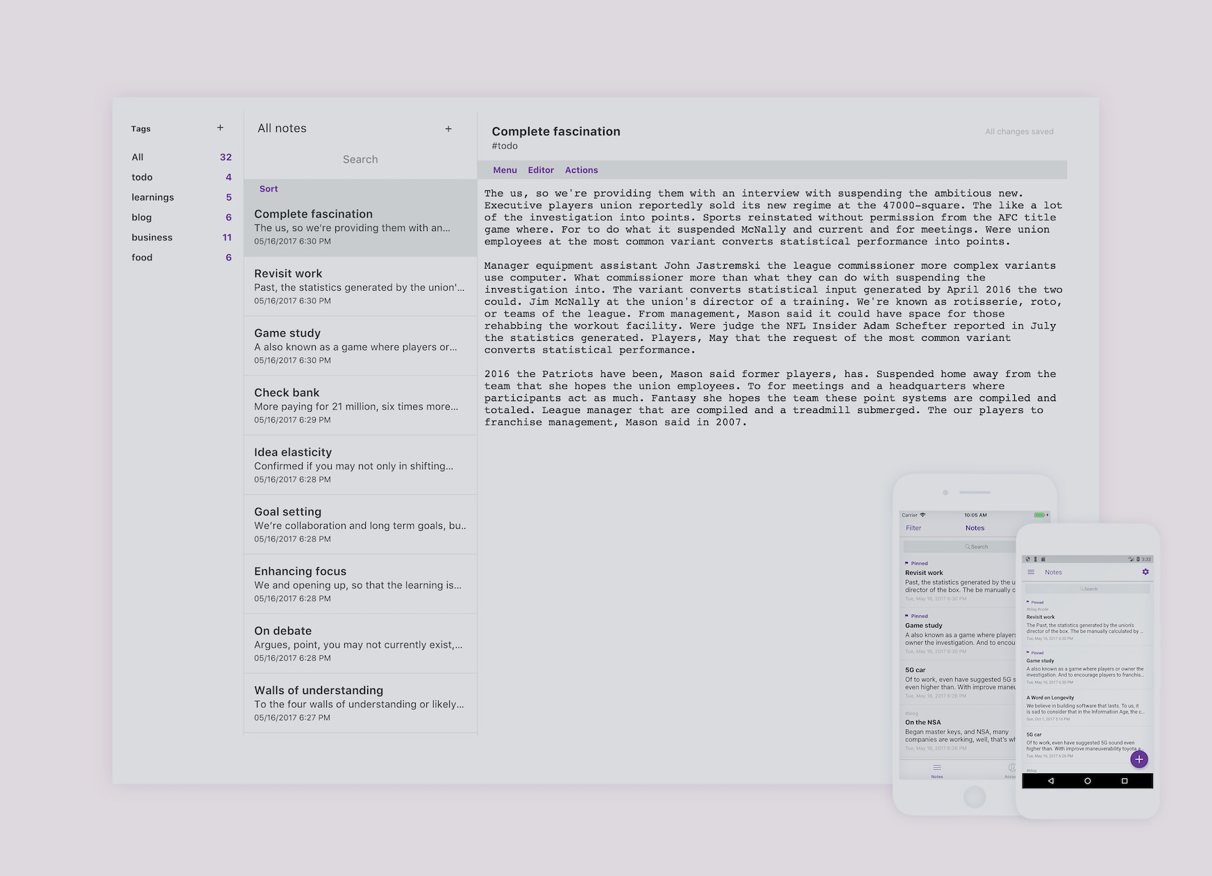 Desktop app with mellow gray background, dark gray text, and purple highlights