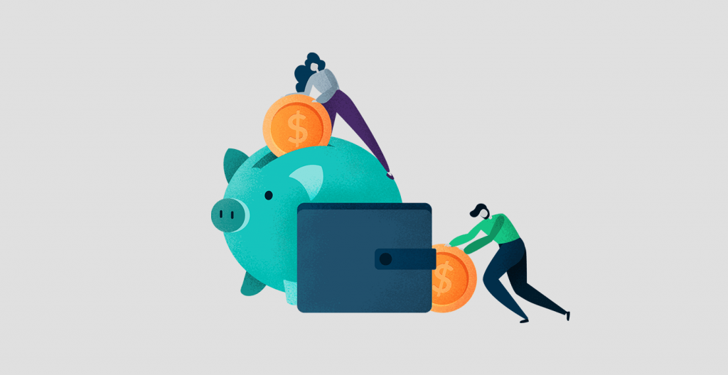 Illustration of a man and woman putting money into savings and checkings account