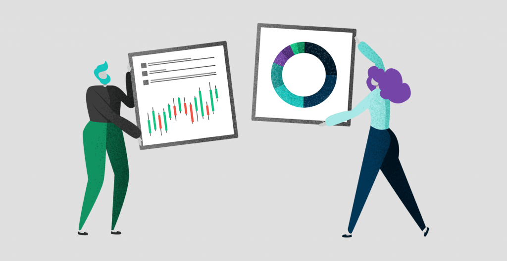 Illustration of man and woman holding up a pie and graph