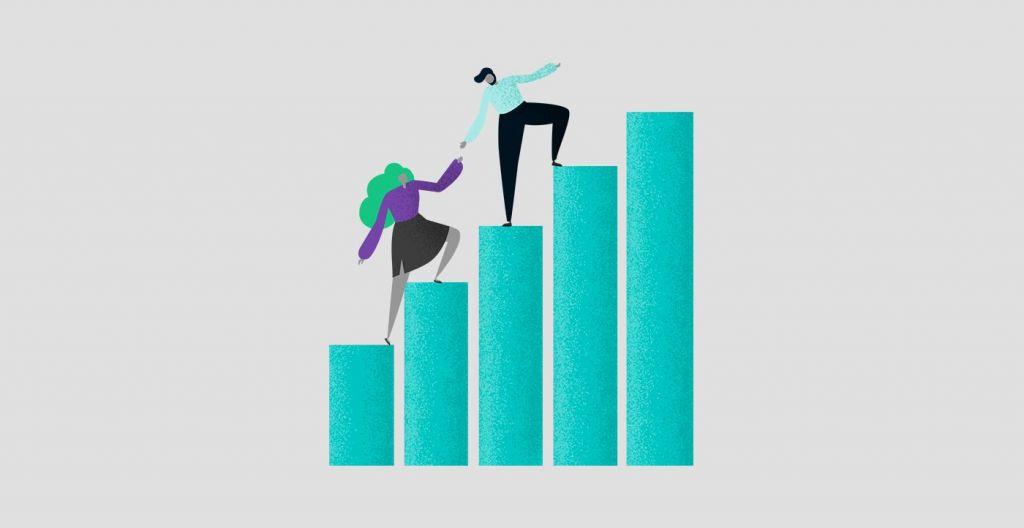 Illustration of a couple climbing a bar graph