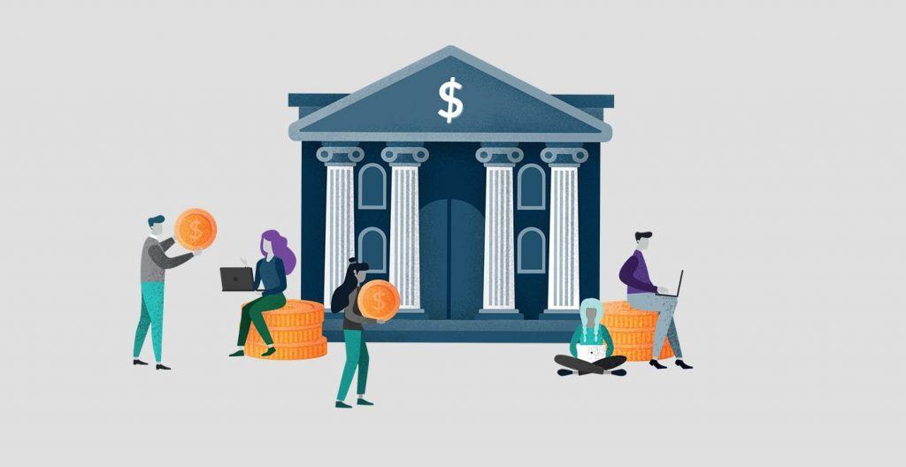 Illustration of a group outside a bank managing finances