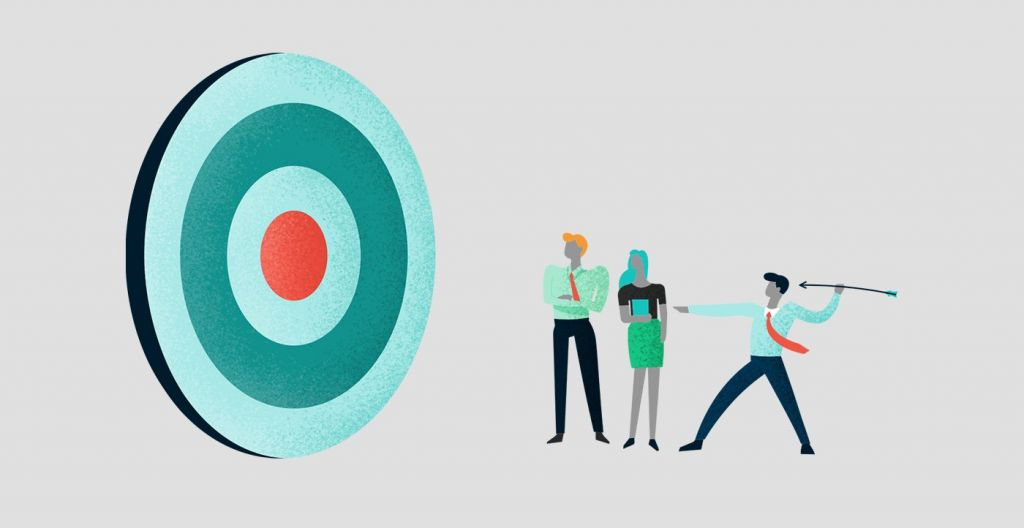 Illustration of a man throwing an arrow at a target