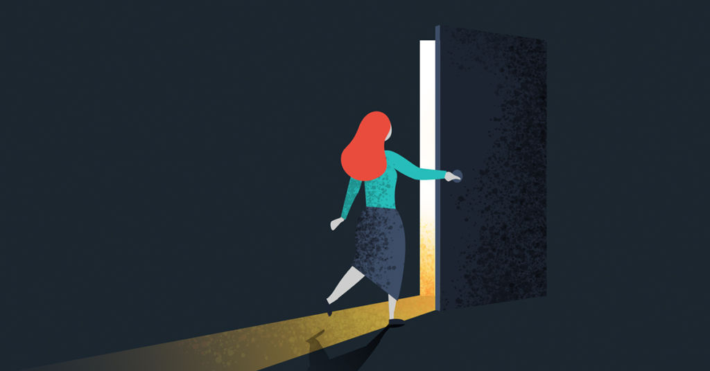 Illustration of a woman opening a door