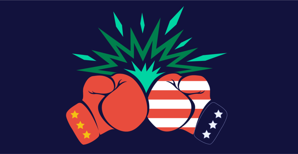Chinese boxing glove colliding with American boxing glove
