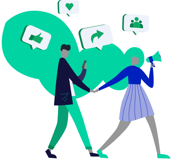 Two people walking with speech bubbles around their heads. The speech bubbles have icons with an arrow, people, thumbs up, and heart.