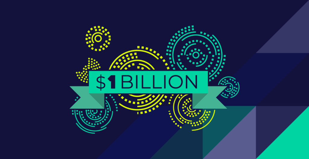 $1 Billion badge with multicolor background