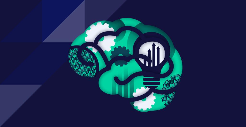 Brain with gears and lightbulbs on the inside