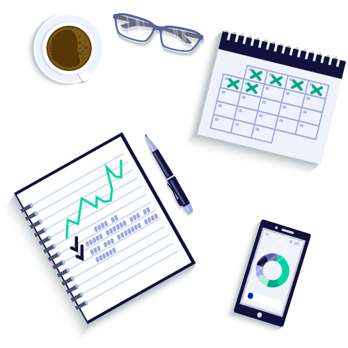 Calendar, coffee, glasses, notebook, pen, and smartphone opened to the M1 app