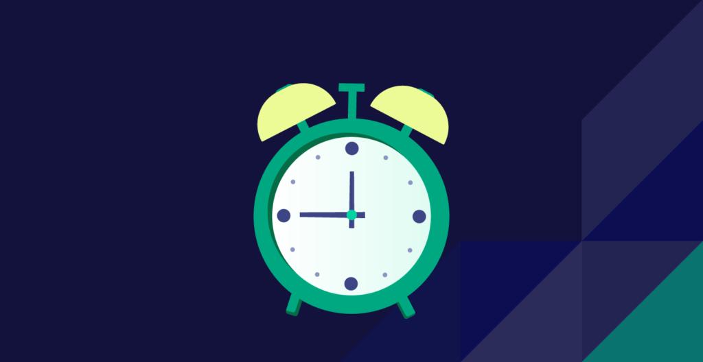Alarm clock over dark blue background