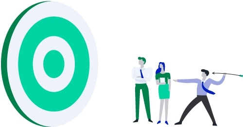 One business person shooting arrows at a big green target, with two bystanders.