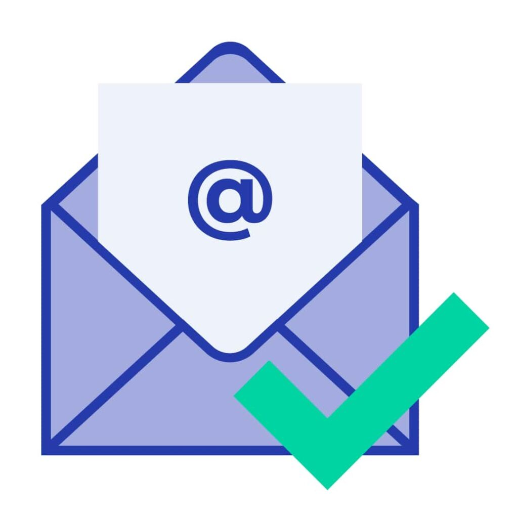 Envelope with an email coming out of it, and a green check mark.