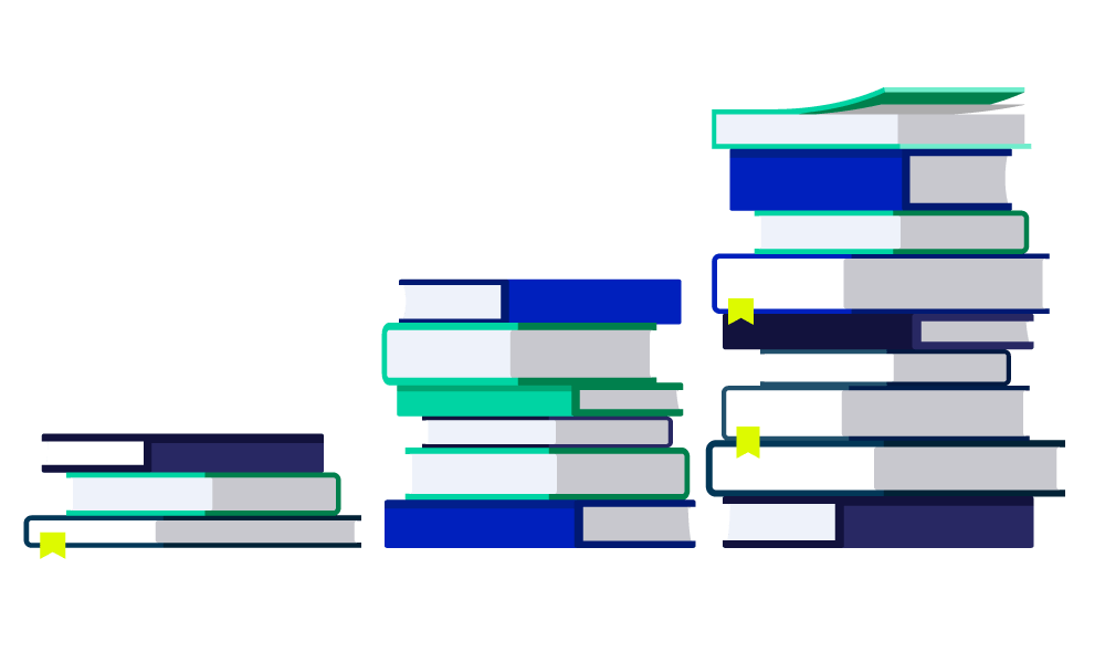 3 stacks of blue and green books