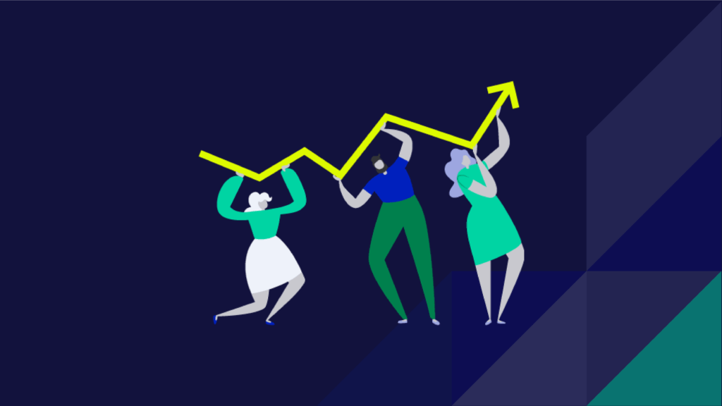 three people holding up a graph line