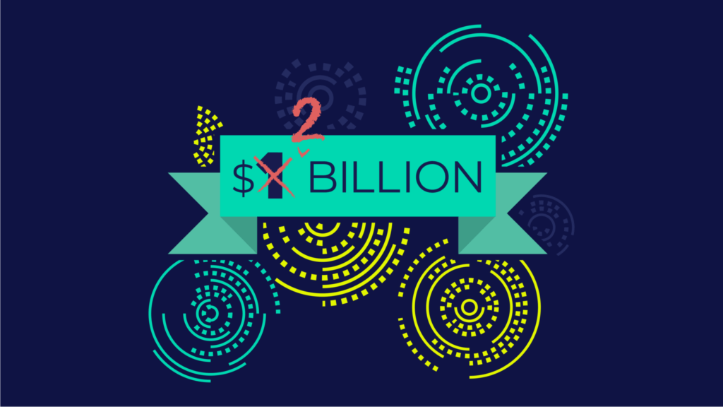 2 billion dollars with yellow and teal swirls