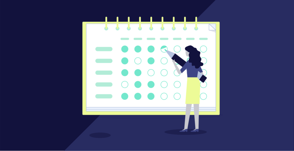 woman filling out a checklist
