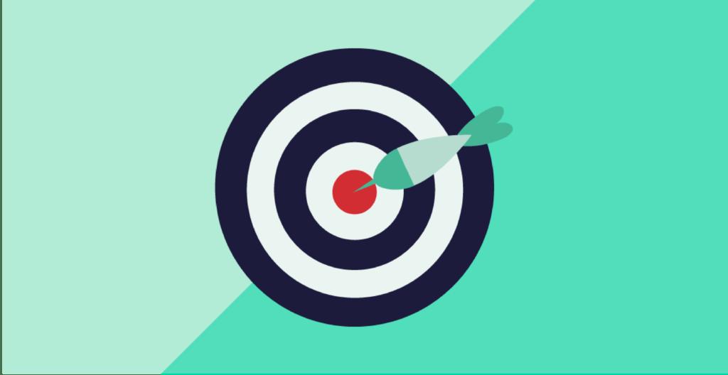 Dart board with dart in bullseye