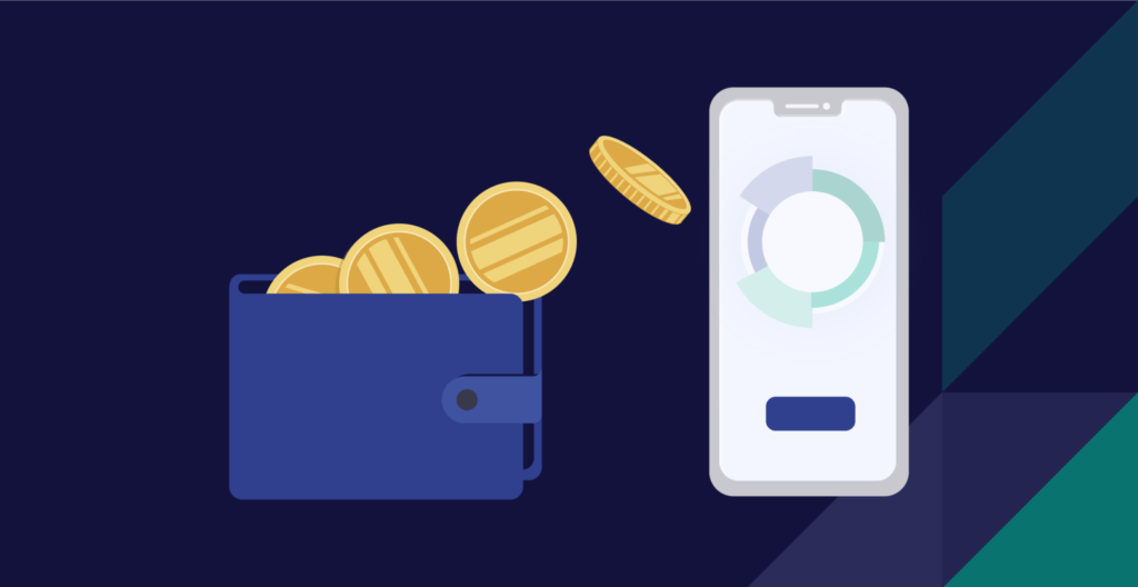 Coins flowing from wallet to M1 app