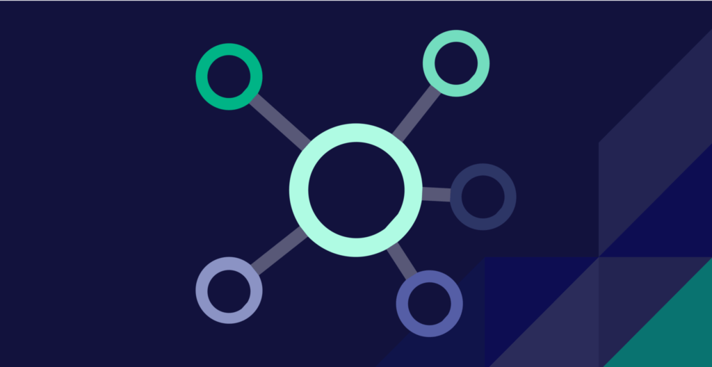 Bubble chart with large green circle in the center and smaller circles coming out connected by lines