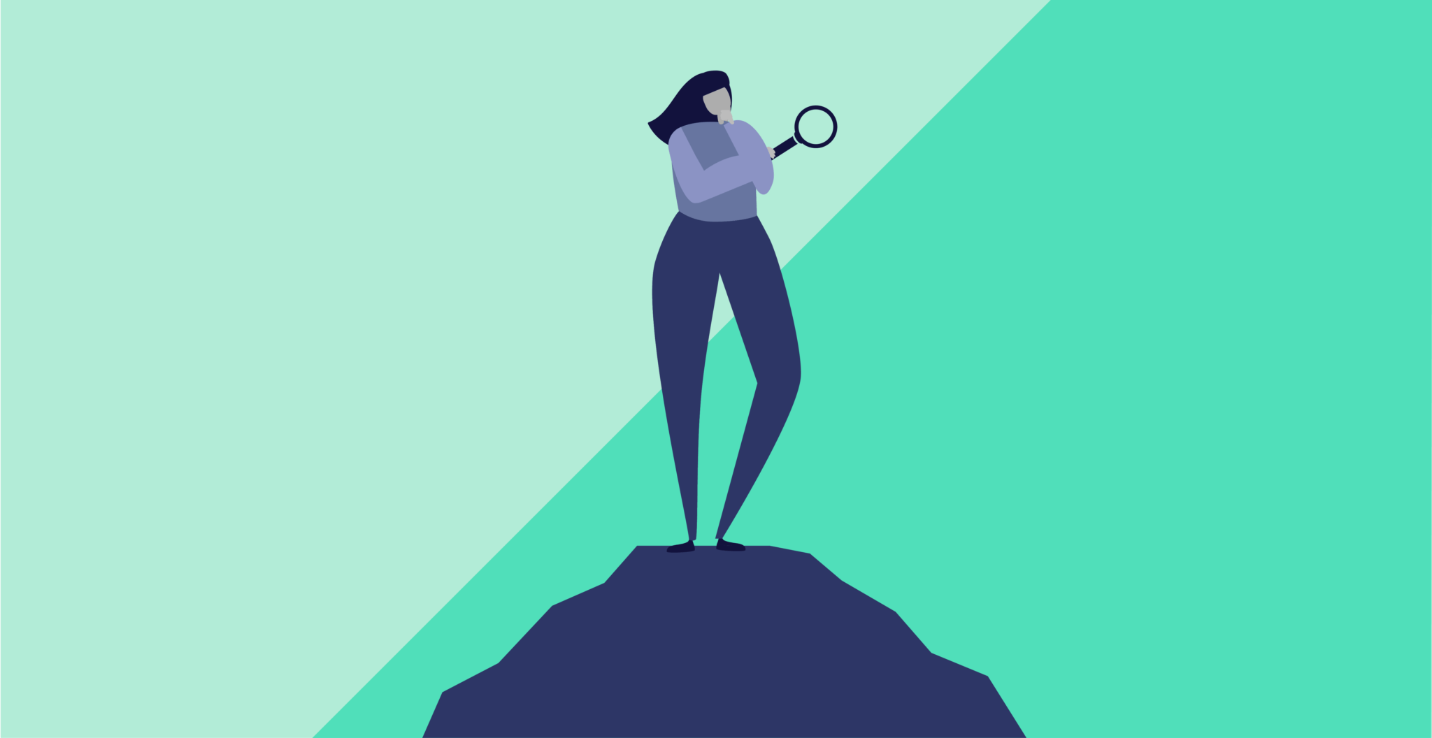 Person standing on a rock thinking about how to stay focused on their financial institutions.