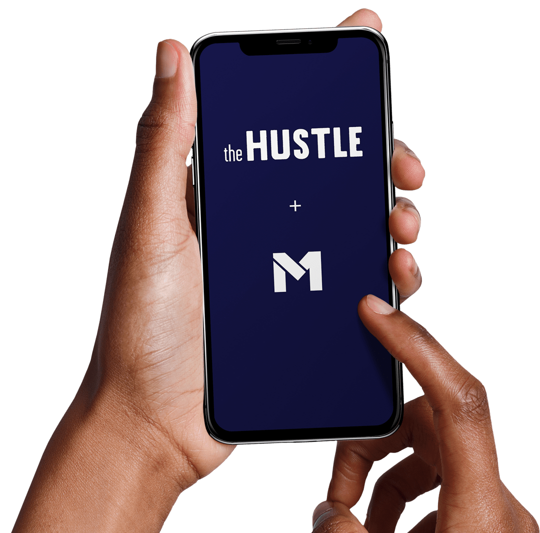 Phone held by user displaying the hustle logo above M1 Finance logo with