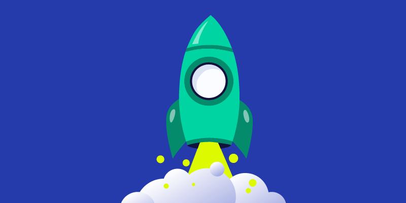 green rocket ship on blue background