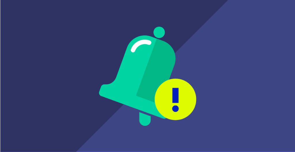green bell notification on blue background