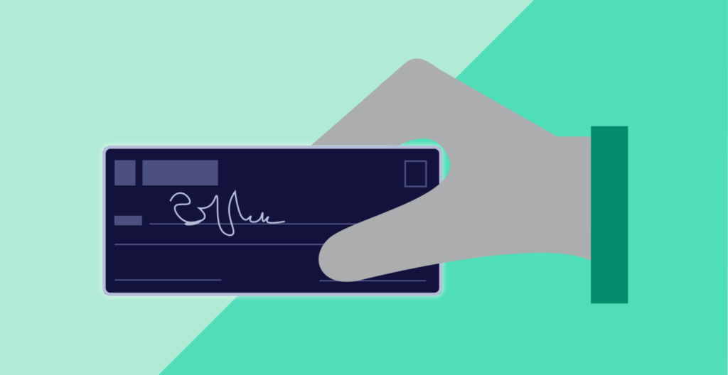 Illustration of a hand holding a check on a green background.