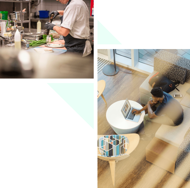 Images of people cooking and on the computer.